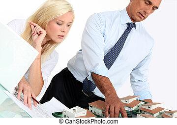 echte, zijn, landgoed, kantoor, assistent, werkende , zakenman