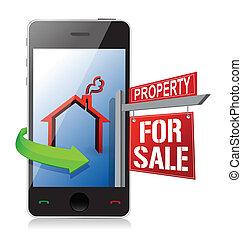 echte, zoeken, concept, landgoed, smartphone, kopen