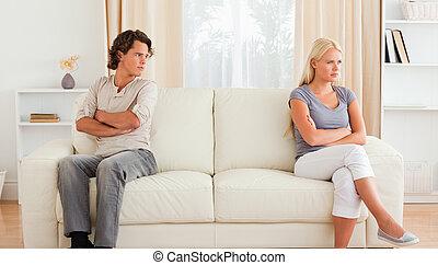 echtgenoot, boos, op, zijn, vrouw