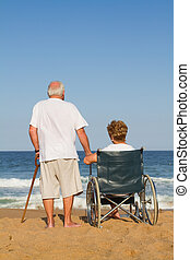 echtgenoot en vrouw, op, strand