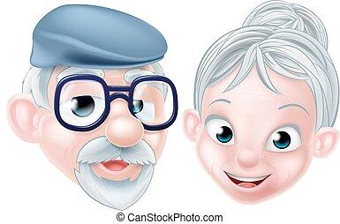 echtgenoot, vrolijke , spotprent, bejaarden, vrouw