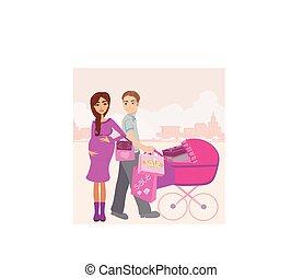 echtgenoot, zwangere , mooie vrouw, haar, shoppen