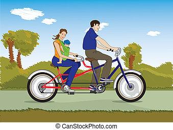 echtpaar, met, baby, op een fiets