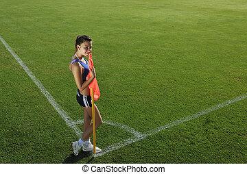 ecke, fußball, frau, junger, stadion