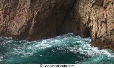 eclabousse, formulaire, entrer, caverne, vagues, rocher, mer