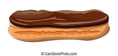 Eclair brewing cake. Sweet eclair with chocolate glaze and custard cream. Tasty dessert. Bread baked food. Bakery shop, pastry. Vector illustration in flat style
