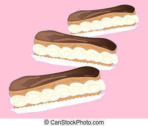 eclairs, chocolate