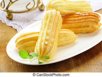 eclairs, masa, pastel, choux