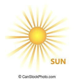 eclatement soleil, jaune, icône