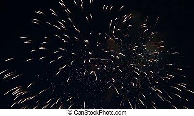 eclats, feux artifice, ciel, nuit