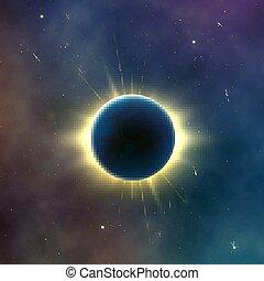 eclipse., étoilé, résumé, effet, illustration, arrière-plan., vecteur, solaire, astromomie, galaxie