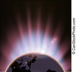 Eclipse globe concept background - An illustration of the...
