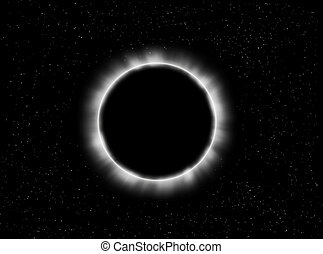 Eclipse - Illustration about a planet eclipse in a starry...