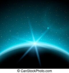 eclipse, ilustração, planeta, em, espaço, em, azul, raios luz, vetorial, fundo