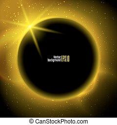 eclipse, ilustración, planeta, en, espacio, en, amarillo, rayos de la luz, vector, plano de fondo