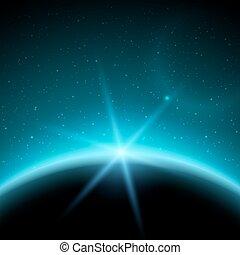 eclipse, ilustración, planeta, en, espacio, en, azul, rayos de la luz, vector, plano de fondo