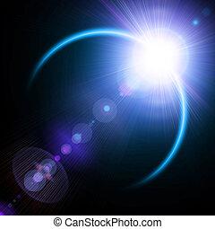 eclipse, ilustración, solar