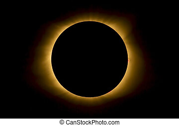 Eclipse Inner Corona and Prominences - The moon covers the ...
