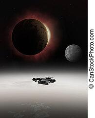 eclipse, interestelar, nave espacial