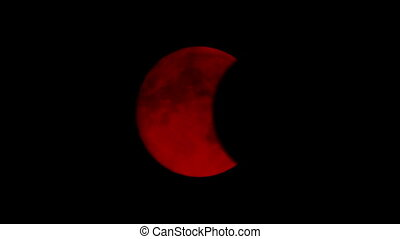 Eclipse Of Blood Red Moon - Total eclipse of scary red moon