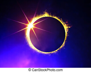 eclipse of the Sun - illustration of solar eclipse, enlarged...