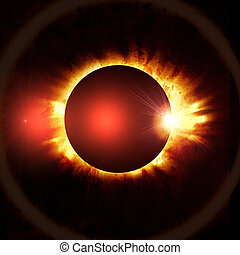 eclipse of the sun on the black