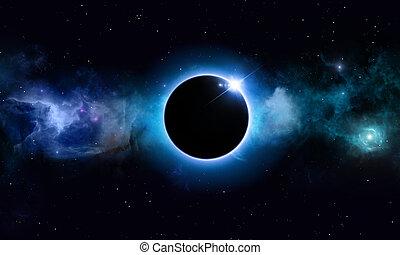 eclipse, profundo, solar, espacio