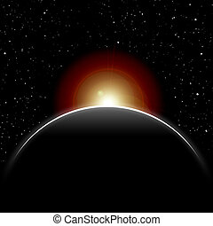 eclipse, sol, cerrado, por, planeta