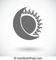 eclipse solar, único, icon.