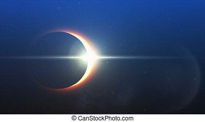 eclipse solar, em, a, céu