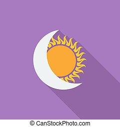 eclipse solar, solo, icon.