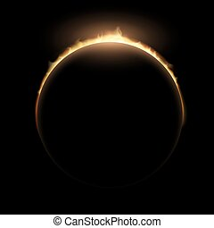 Total eclipse of the sun. Stock vector illustration.