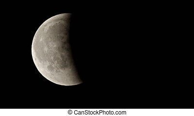 Eclipsed moon moving in the black sky - Almos half eclipsed...