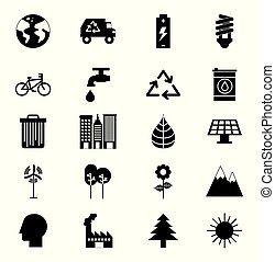 eco, állhatatos, barátságos, batyu, ikonok