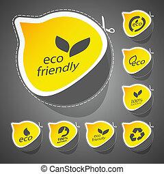 eco, állhatatos, barátságos, signs.
