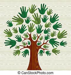 eco, árbol, amistoso, manos