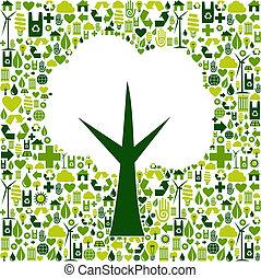 eco, árbol, símbolo, con, verde, iconos