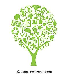 eco, árbol verde