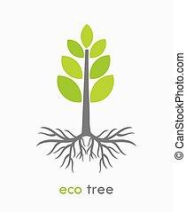 eco, árvore, ilustração