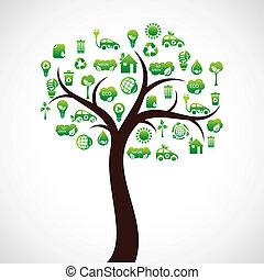 eco, árvore verde, ícone