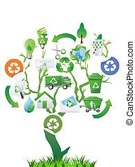 eco, árvore verde, ícones