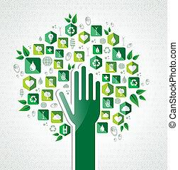eco, árvore verde, mão