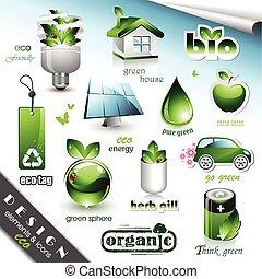 eco, éléments, conception, icônes
