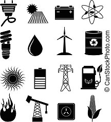 eco, énergie, ensemble, icônes