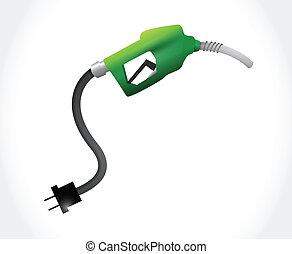 eco, énergie, essence, illustration, pompe, vert, amical