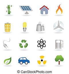 eco, és, környezet, ikonok