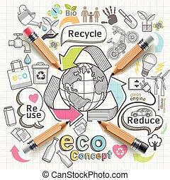 eco, ícones, pensando, set., doodles, conceito