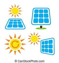 eco, ícones, solar, -, jogo, eergy, painel