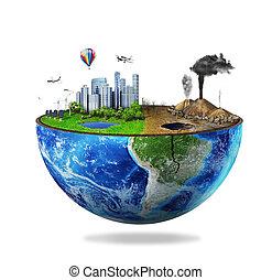 eco, άγνοια , γη , σφαίρα , concept., απομονωμένος , μισό , ...