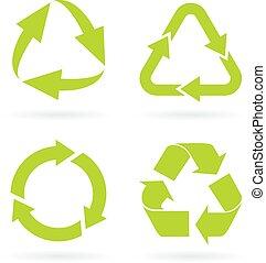 eco, ανακύκλωσα , σύμβολο , πράσινο